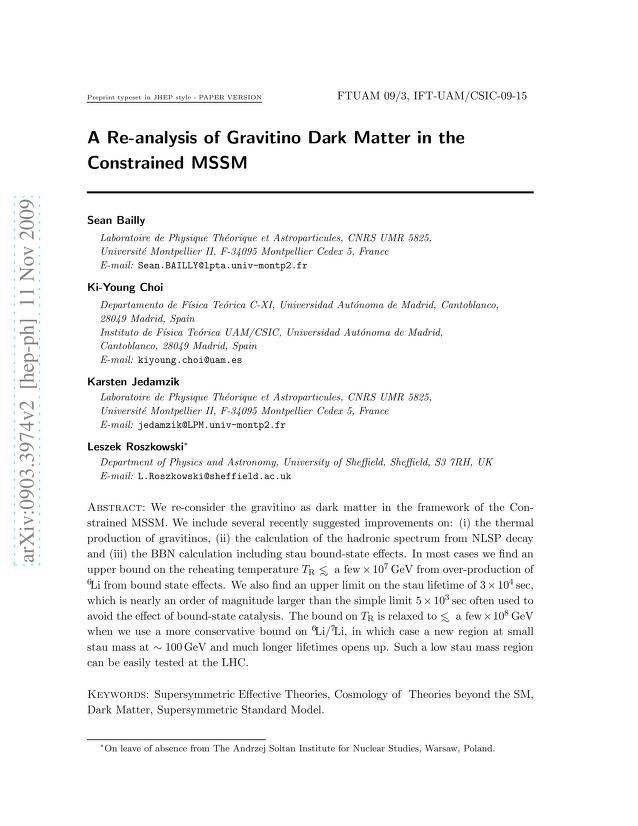 Sean Bailly - A Re-analysis of Gravitino Dark Matter in the Constrained MSSM