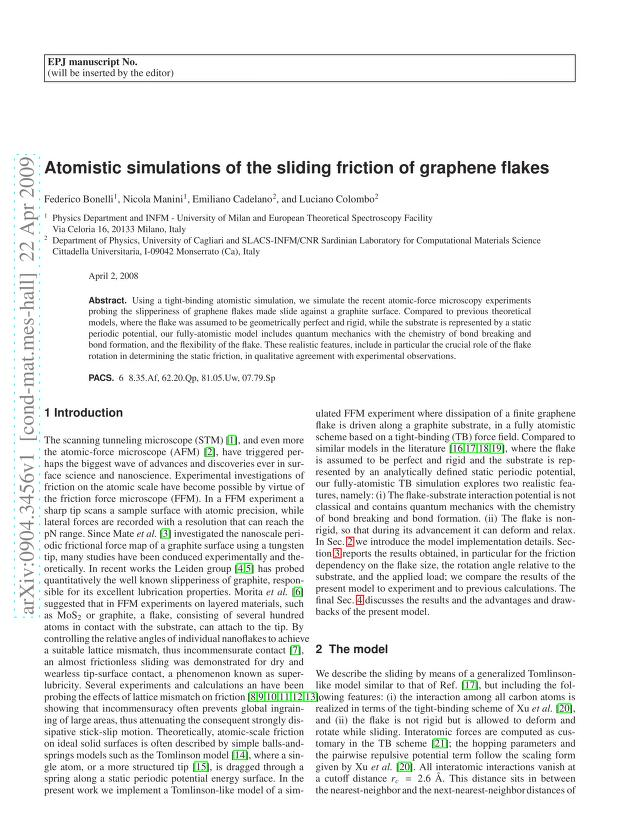 Federico Bonelli - Atomistic simulations of the sliding friction of graphene flakes