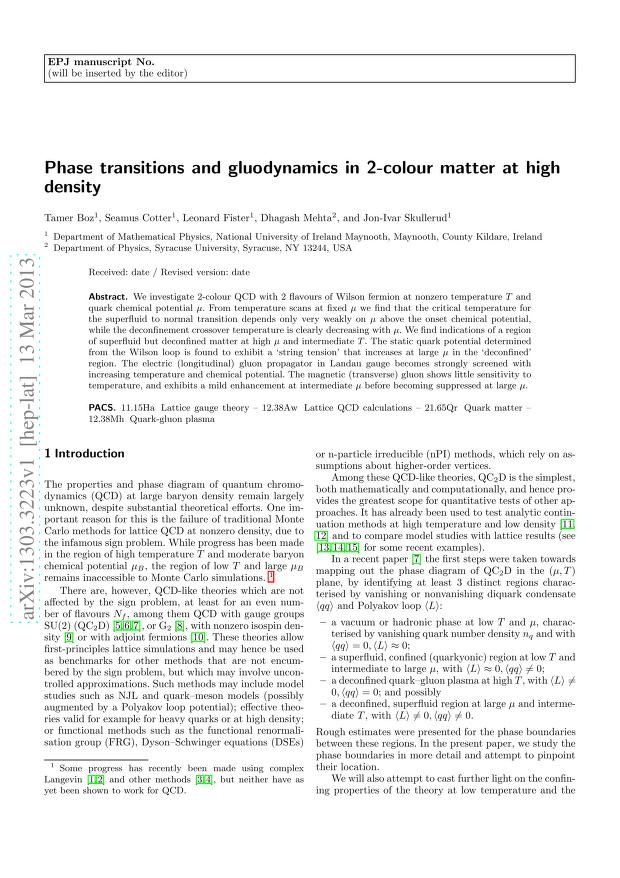 Tamer Boz - Phase transitions and gluodynamics in 2-colour matter at high density