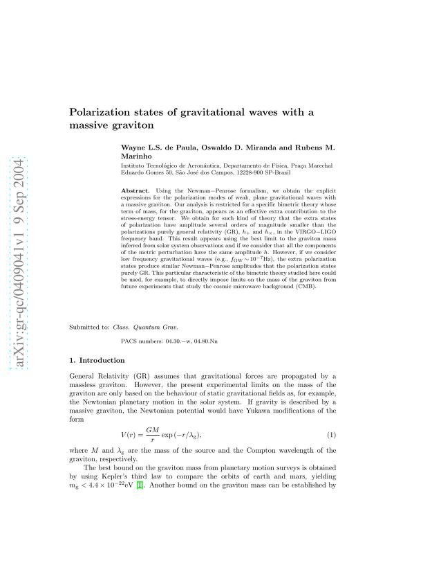W. L. S. de Paula - Polarization states of gravitational waves with a massive graviton
