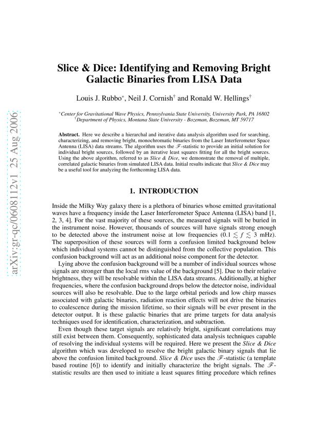 Louis J. Rubbo - Slice & Dice: Identifying and Removing Bright Galactic Binaries from LISA Data