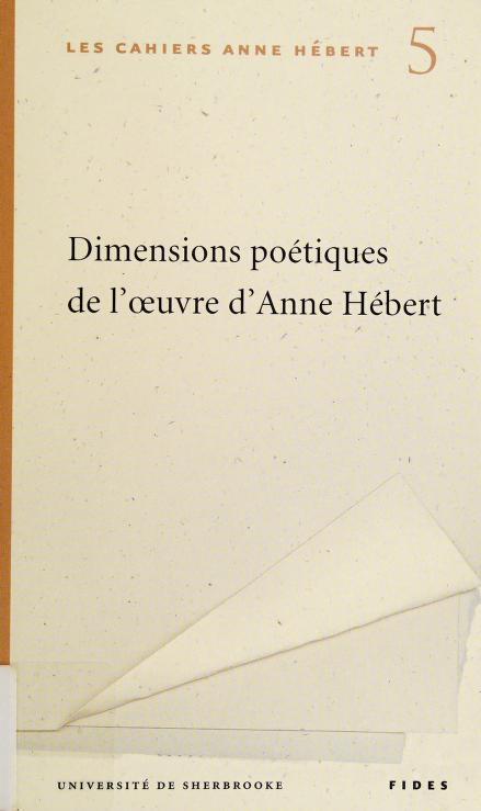 Dimensions poétiques oeuvre Anne Hébert by Collectif