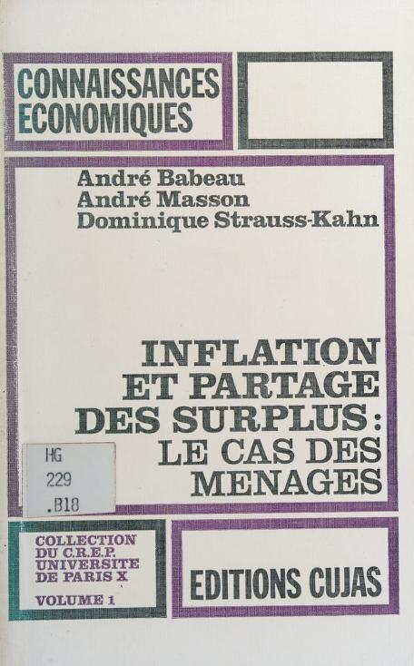 Inflation et partage des surplus by André Babeau