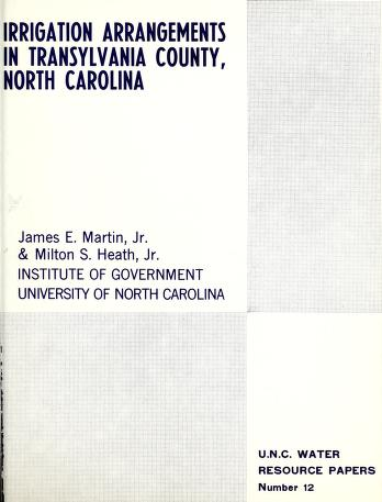 Irrigation arrangements in Transylvania County, North Carolina by Martin, James E.