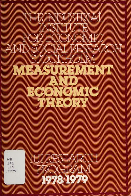 Measurement and economic theory by Industriens utredningsinstitut (Sweden)